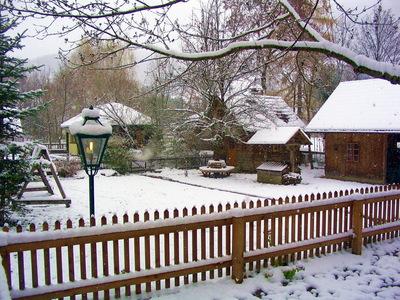 Gartenhäuser im Winter